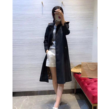 women long trench black color hooded coat high quality classic designed
