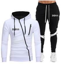 Novo casual conjuntos de treino dos homens hoodies e calças dois conjuntos de peças com capuz com zíper moletom roupa esportiva masculino terno roupas