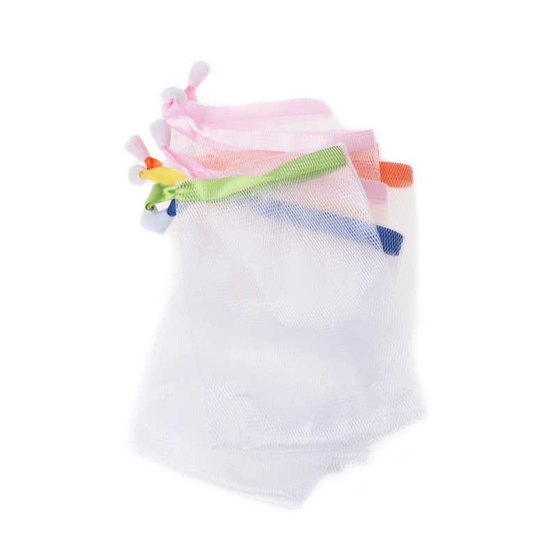 10x Soap Foaming Nylon Mesh Drawstring Bag Bubble Foam Net Bath Cleaning Gloves