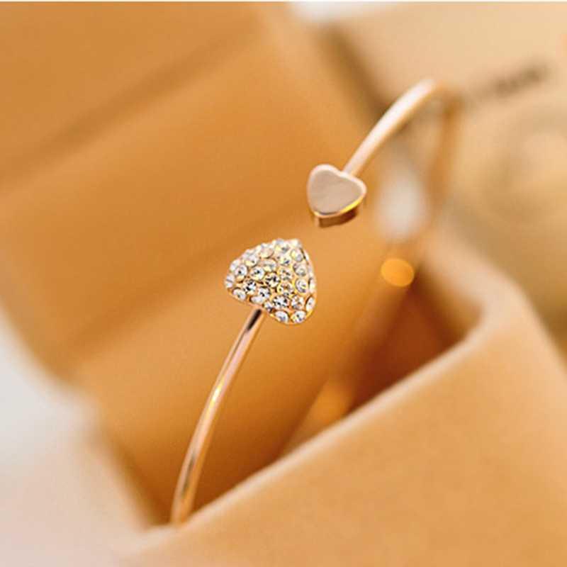 2019 Hot New Fashion regulowany kryształ podwójna kokarda z sercem bransoletka na mankiet otwarcie bransoletki dla damska biżuteria na prezent bransoletki damskie