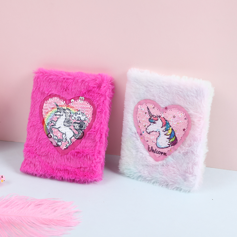 Girl A6 Sequin Unicorn Notepad Book Student Mini Love School Notebook Cartoon Stationery Day Plan Diary For Kids Small Hand Book