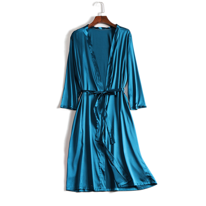 Silk 100% Real Pure Mulberry Women Robes Silk Satin Knee Length Robe Nightwear Sleepwear Pijamas Bornoz Robe Nightgown Kimono