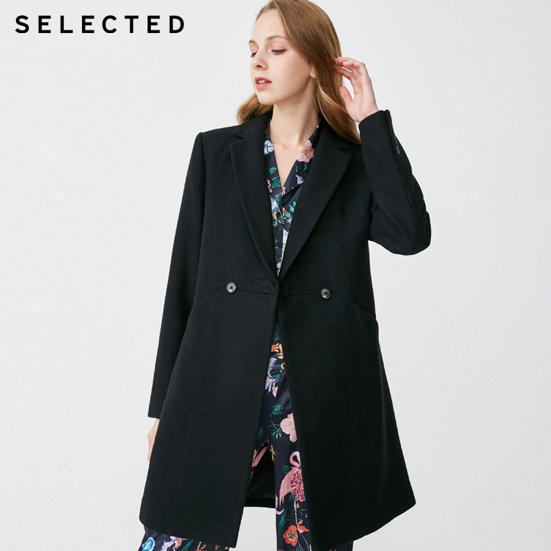 SELECTED Womens Medium Length Solid Wool Coat |419127506