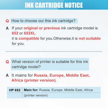 QSYRAINBOW 652XL ink cartridge replacement for hp652 HP 652 XL for HP Deskjet 1115 1118 2135 2136 2138 3635 3636 3835 4535