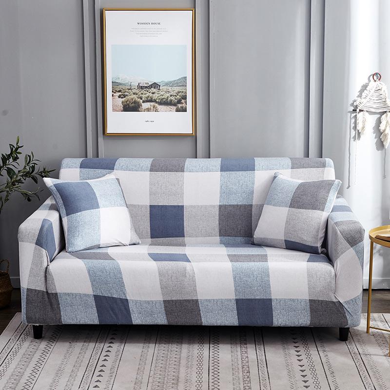 Белого и синего цвета в клеточку Цвета чехол для дивана из эластичного