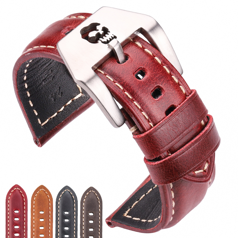 Handmade Watchbands 22mm 24mm 26mm Brown Blue Green Red Leather Watch Band Strap Belt Stainless Steel Skull Hollow Buckle