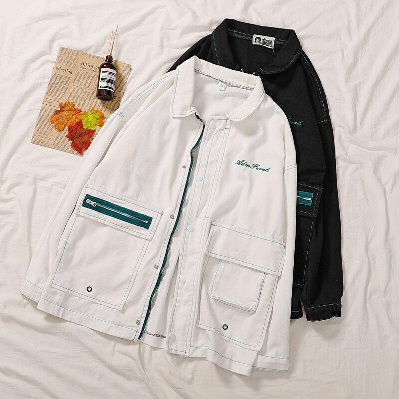 Harajuku Oversize BF Style Coat Women Autumn Stand Collar Long Sleeve Casual   Basic     Jacket   Female Korean White Black Cardigan