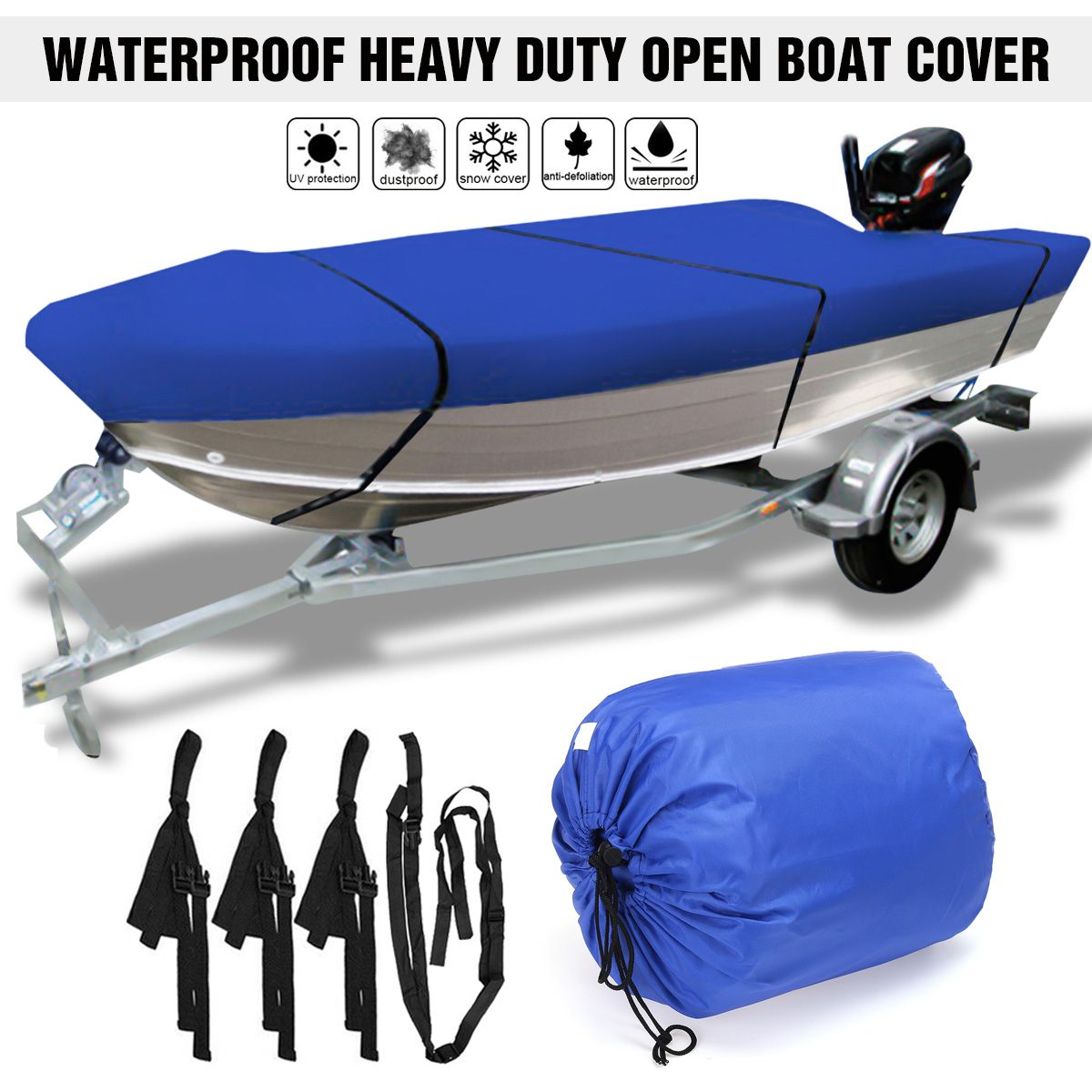 3.5-4.5m Trailerable Heavy Duty Open Boat Cover Fishing Runabout Waterproof 210D