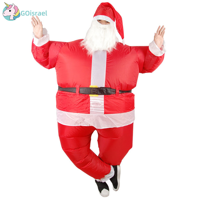 Adult Man And Woman Christmas Inflatable Santa Claus Clothes Doll Suits Inflator Party Holiday Fun Show