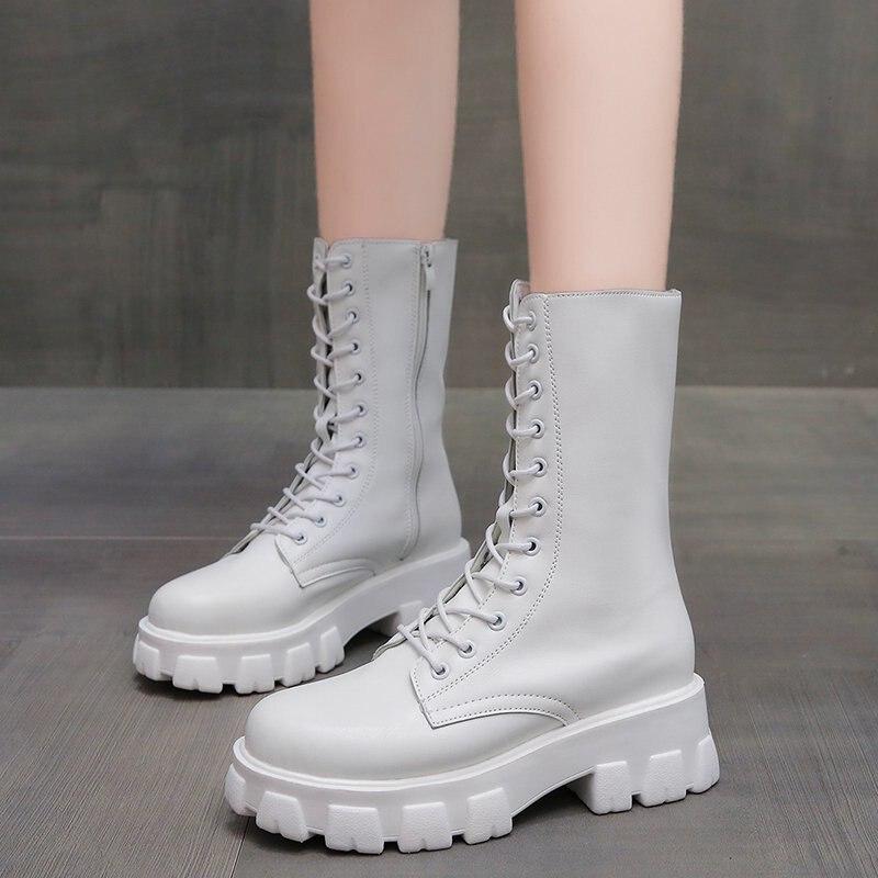 Botas de media caña de cuero de Pu con tiras cruzadas a la moda, zapatos de plataforma gruesos estilo Punk para Mujer, Botas impermeables negras para Mujer