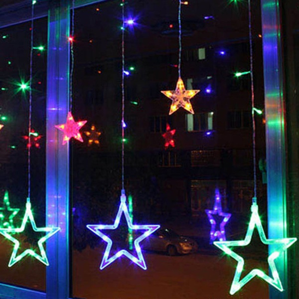 Image 5 - 2020 New LED String Lights Pentagram Star Curtain Light Fairy Wedding Birthday Christmas Lighting Indoor Decoration Lights 220V-in Pendant & Drop Ornaments from Home & Garden