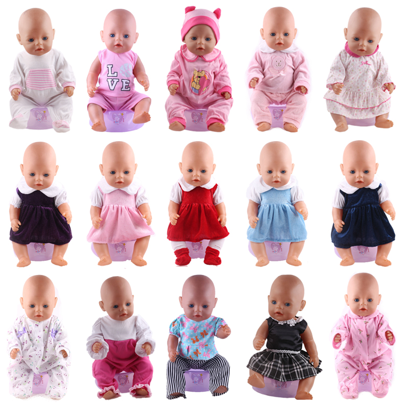 Doll Clothes Pajamas 15 Sets Dress Jump Suits Fit 18 Inch American&43 Cm Baby New Born Reborn Doll Generation Christmas Girl`s