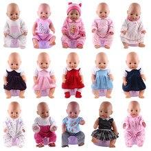 Boneca roupas pijamas 15 conjuntos vestido de salto ternos caber 18 Polegada americano & 43 cm bebê recém nascido renascer boneca geração da menina de natal