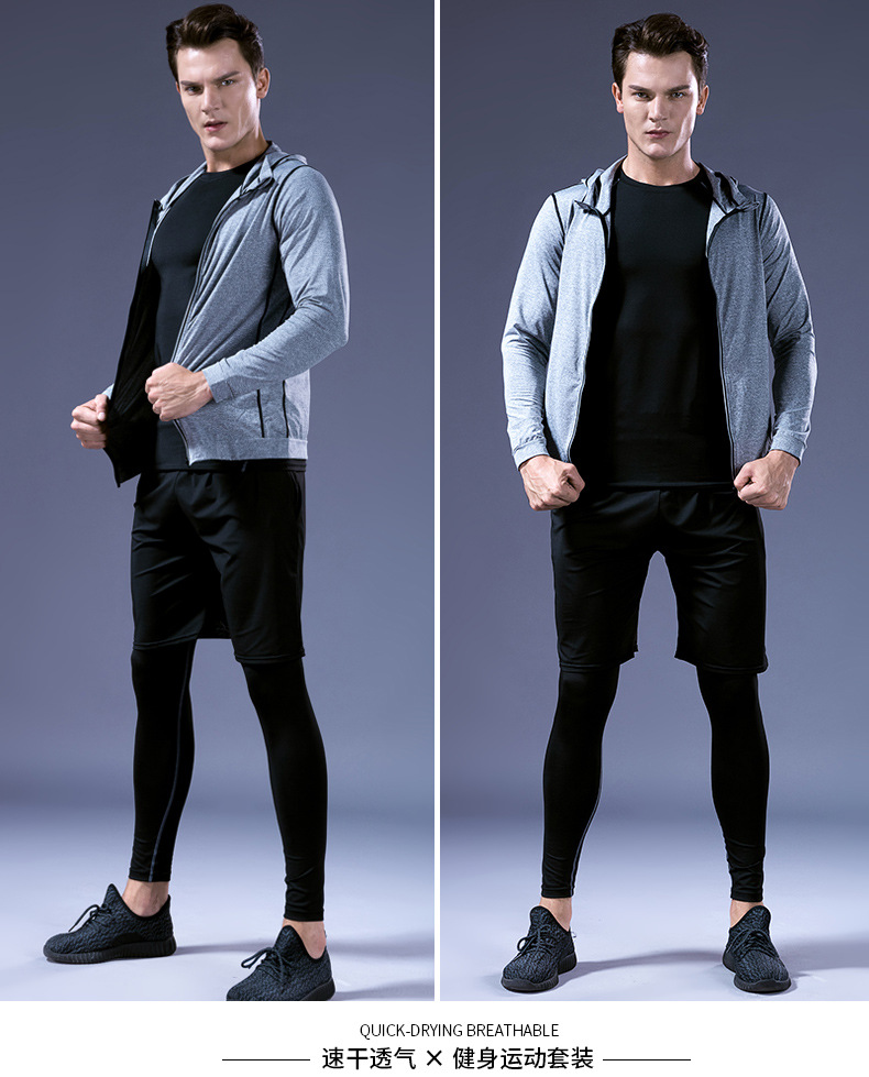 Foto of 2 man 5 pcs compressions clothes for gym. Men's 5 pcs compression tracksuit sports black color