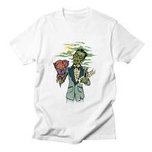 лучшая цена Lets Summon Demons Zombie T Shirt Men Clothing Funny Cartoon Date of The Dead T-shirt Men Short Sleeve Cotton Tee White Tops