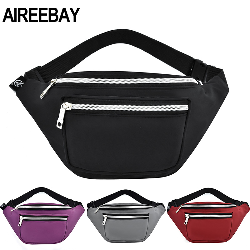 AIREEBAY Waist Packs For Women New Design Waterproof Fanny Pack Fashion Bum Bag Ladies Travel Money Pouch Black Chest Bags