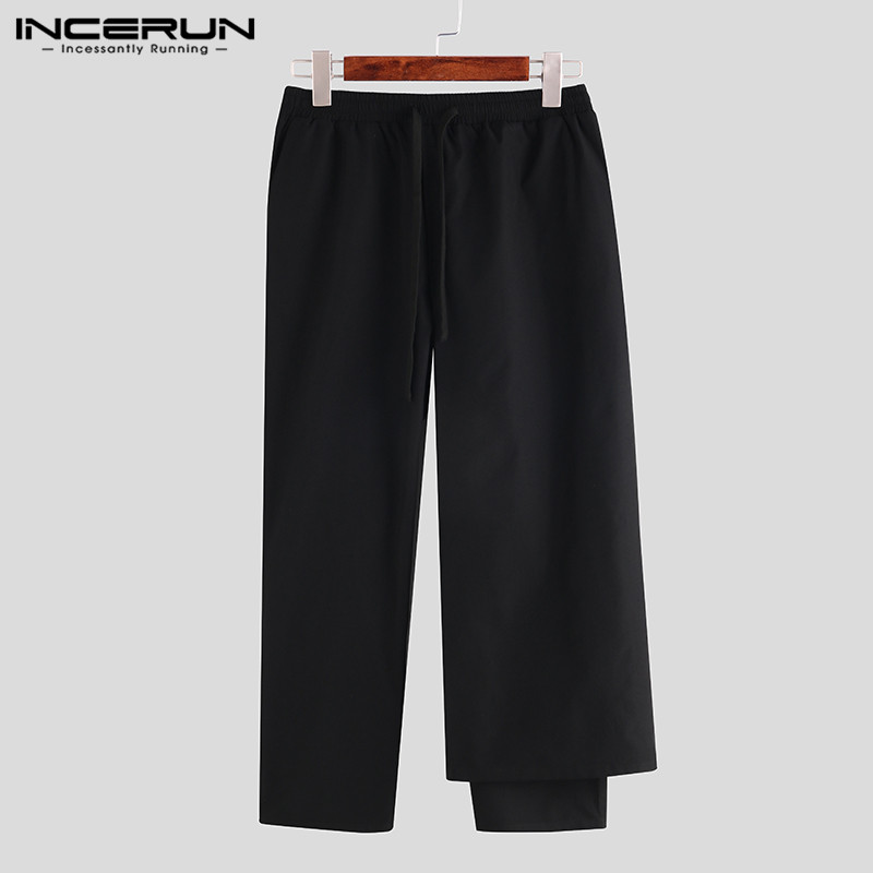 INCERUN 2020 Fashion Black Pants Men's Casual Pants With Removable Pleated Skirt Pants Streetwear Solid Color Straight Trousers