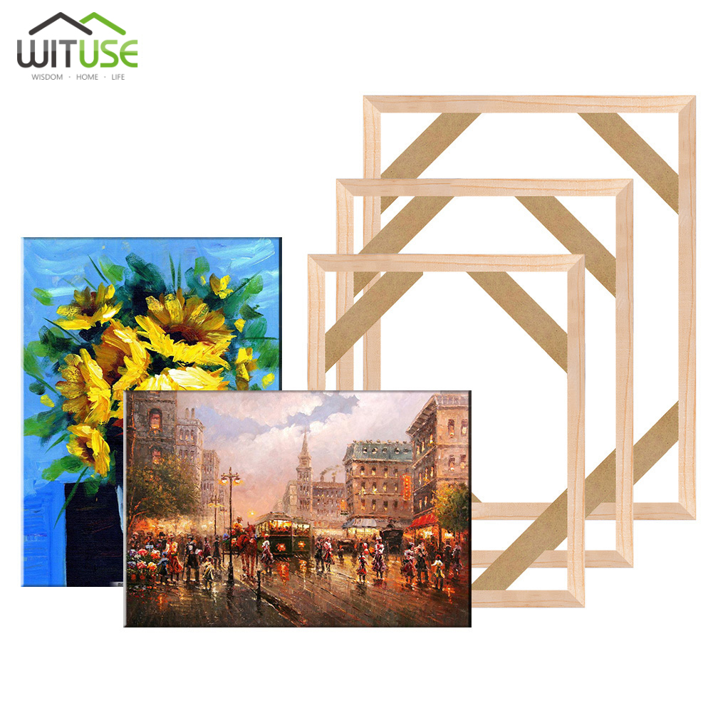 DIY Wooden Frame Kit For Canva Art Stretcher Strip Gallery Wrap Natural Frame for Diamond Painting Picture Wall Art Decor