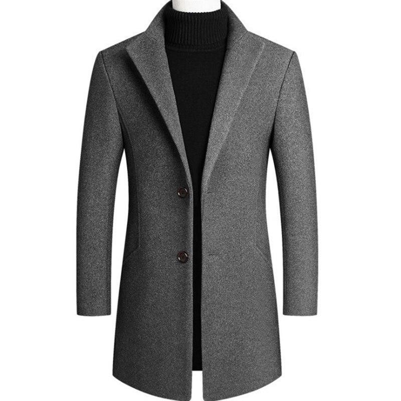 Men Woolen Trench Coat Autumn Winter Mid Long Wool & Blends Jacket Casual Men's Woolen Coat Grey/Black/Wine Red
