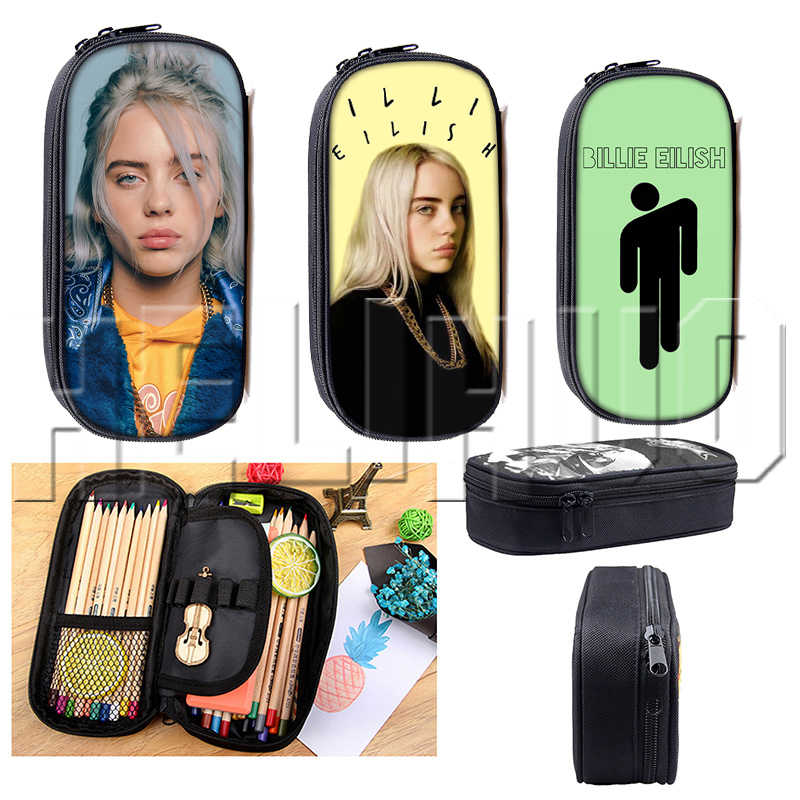 Billie Eilish Pencil Case Sac Cosmetic Bag Case BE Women Makeup Bags Bille DJ Singers Elish School Supplies for Teenager Pen Box
