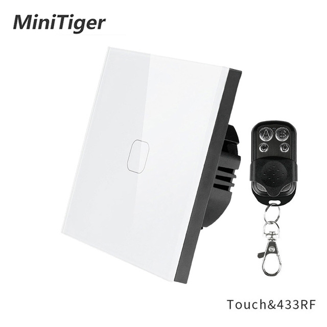 Minitiger EU/UK Standard 1 Gang 1 Way <font><b>RF433</b></font> Remote <font><b>Control</b></font> Wall Touch Switch,Smart Home Wireless Remote <font><b>Control</b></font> Light Switch image