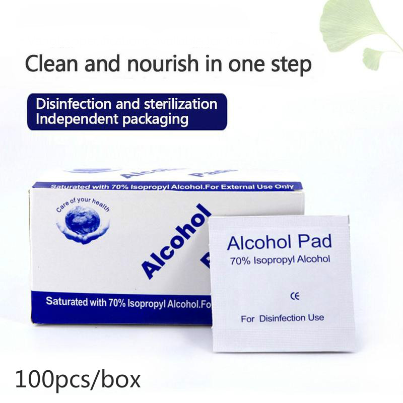 100pcs/box Protable Alcohol Disinfection Wet Wipe Swap Pad Disposable Antiseptic Skin Cleaning Non-woven Pred Pad Hands Clean
