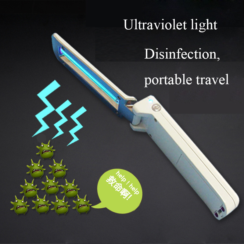 Ultraviolet Disinfection Lamp Sterilization Lamp Portable UVC Handheld Folding USB Disinfection Germicidal Flashlight
