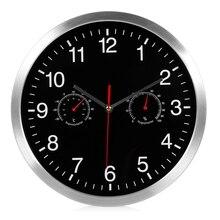 Бесшумные кварцевые настенные часы с термометром и гигрометром, бесшумные настенные часы в 1, Декор для дома
