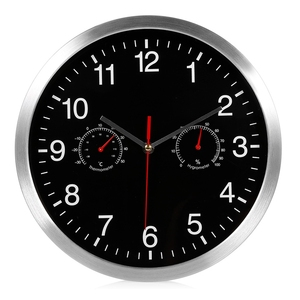 Image 1 - HLZS 3 in 1 Silent Quartz Wall Clock Quiet Sweep Movement Thermometer Hygrometer No Ticking Home Art Decor Wall Clock