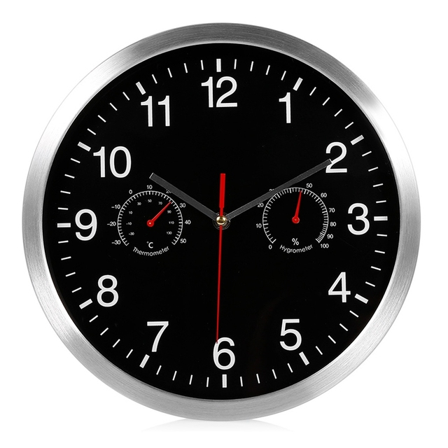 HLZS 3 in 1 Silent Quartz Wall Clock Quiet Sweep Movement Thermometer Hygrometer No Ticking Home Art Decor Wall Clock