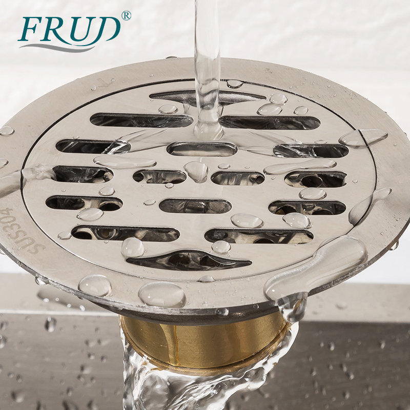 FRUD Insert Round Floor Waste Grates Bathroom Shower Drain Floor Drain Simple Fltro Ducha Drain Hair Invisible Anti Odor