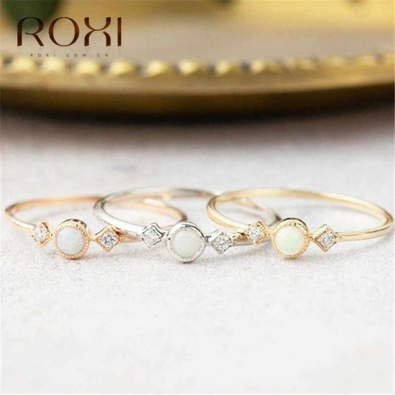 روكسي جولة النار حلقات أوبال للنساء خمر مجوهرات الأزياء موجزة خاتم كريستال داينتي المشاركة خواتم الزفاف Anillos موهير