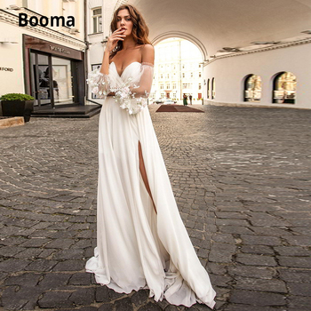 цена на Booma Chiffon Wedding Dress V-neck Appliqued Long Puff Sleeves Boho Bride Dress A-Line Open Back Beach Wedding Gown with Split