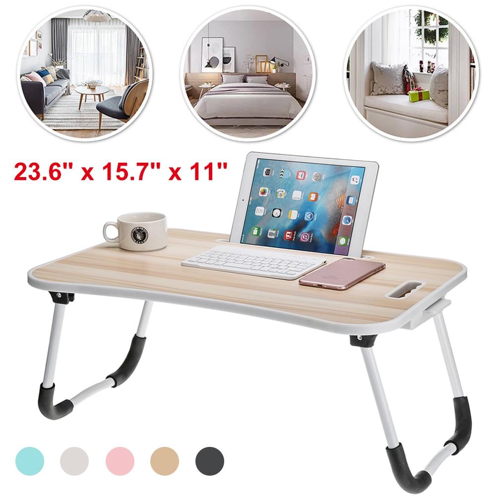 Portable Folding Table Laptop Stand Holder Study Table Desk Wooden Foldable Desks Computer Desk Bed Sofa Table Office Furniture