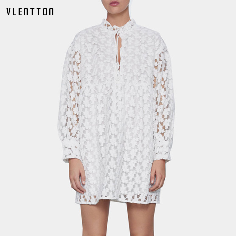 2020 Spring Summer White Sexy Hollow Out Mini Dress Women Long Sleeve Ruffled Print Solid Elegant Party Dresses Ladies Vestidos