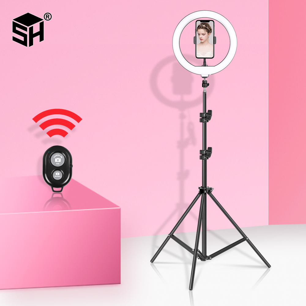 Video-Light Ring-Lamp Make-Up-Video Selfie Photo-Studio Youtube 2in1-Tripod 10inch/26cm