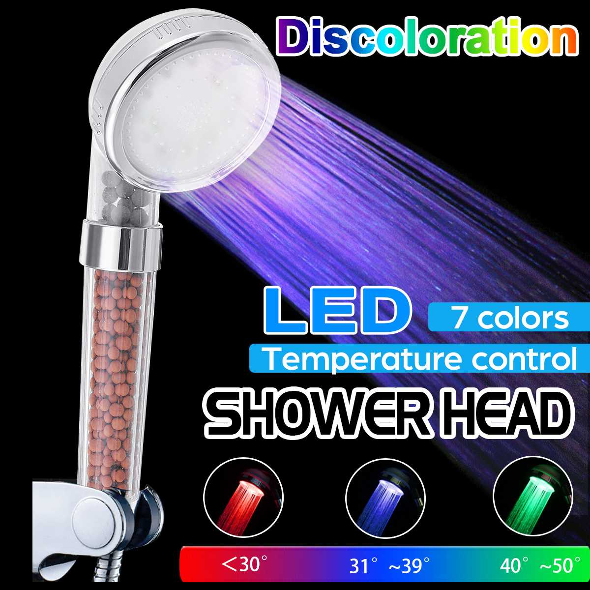 LED RGB Rainfall Bath Shower 7 Color Changing Shower Head High Pressure Saving Water Bathroom Anion Filter Shower SPA Nozzle