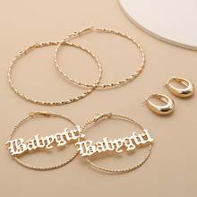 3Pairs/Set Exaggerated Geometric Hoop Earrings Sets  Metal Letter Big Round Circle Earrings for Women Statement Jewelry Gift