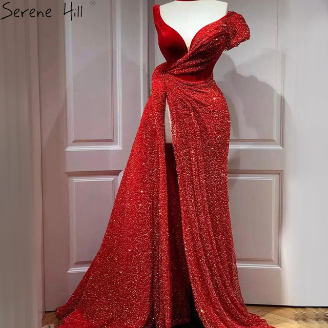Red One Shoulder Luxury Dubai Evening Dresses Long 2020 Sleeveless Sexy Beading Sequins Formal Dress Serene Hill LA70416