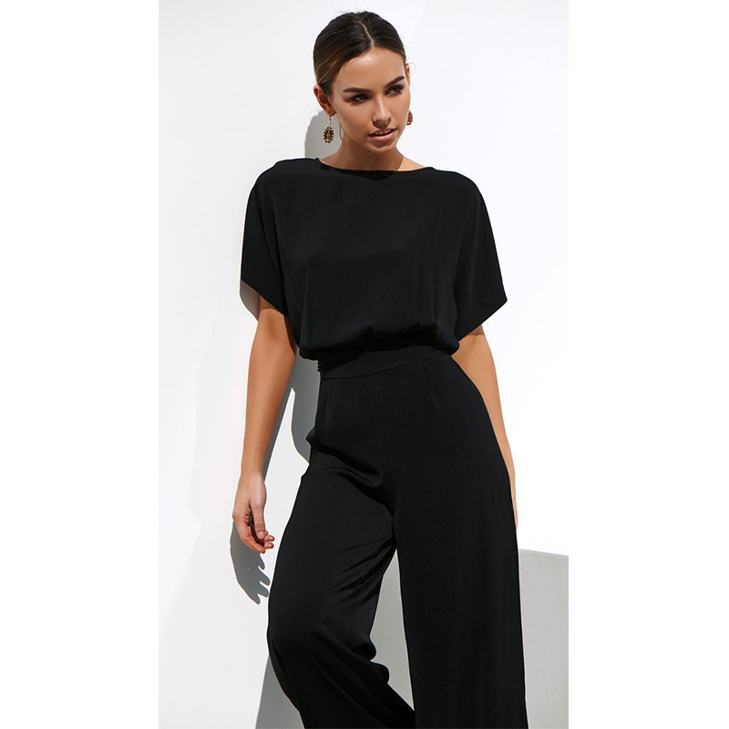 2020 Women Two Piece Set Top And Pants Solid Black Comfort Chiffon Batwing Sleeve Elegant Office Lady Clothes New Simple Fashion