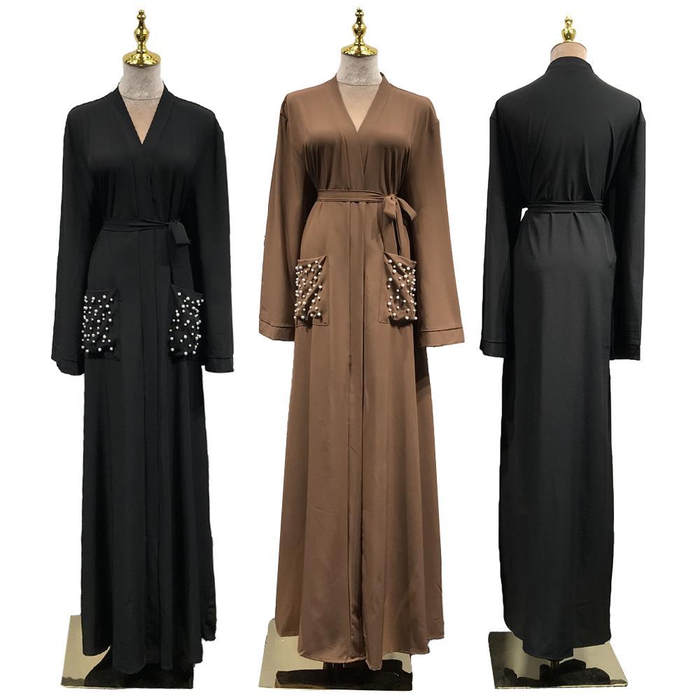 Muslim Women Open Abaya Cardigan Maxi Dress Robes Jilbab Pearls Islamic Dubai Clothing Gown Party Kimono Brown Autumn Dress New