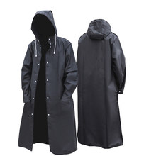 Black Fashion Adult Waterproof Long Raincoat Women Men Rain coat Hooded For Outdoor Hiking Travel Fishing Climbing Thickened