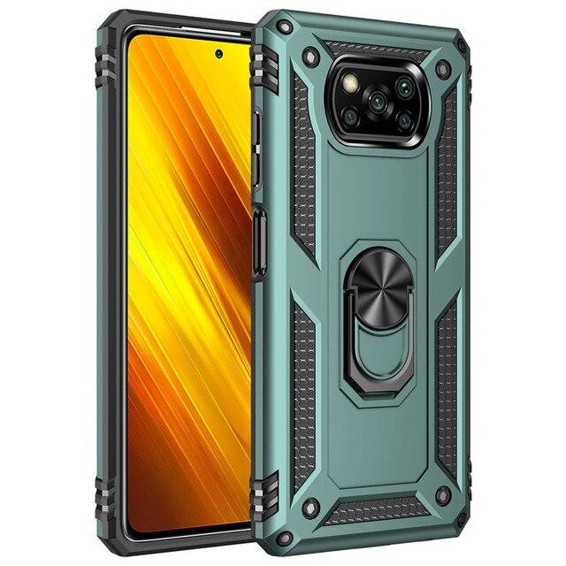 Модный прочный армированный чехол для телефона из поликарбоната для Xiaomi Pocophone Poco X3 Pro NFC противоударный Магнитный защитный чехол с подставко...