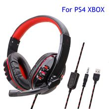 For PS4 Computer Gaming Headset Gamer Wired Headphone With Microphone Stereo Bass Earphone Music Cascos WIth Mic For Xbox Phone new upgrade stereo headphone headset casque computer gaming headset ps4 with mic for pc game gamer earphone two pair of earmuffs