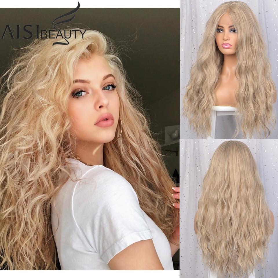 AISI BEAUTY Lace Front Wigs Golden Long Wavy Wigs Heat Resistant Fibre Blonde Middle Part Synthetic Hair