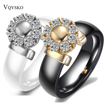 Black&White Ceramic Rings For Women Cubic Zircon Stainless Steel Engagement Wedding Rings Elegant Love Rings Ceramic Jewelry 1