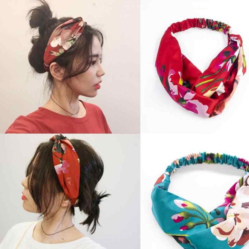 TOP Knot แถบคาดศีรษะยืดหยุ่นอุปกรณ์เสริมผมสำหรับสาว CROSS SLIP Stay ON ผูกผ้าไหมซาตินหัวผม BAND สำหรับสตรี