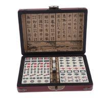 Chinese Travel Mahjong Set with Case, Mini Mah Jongg for Family Fun Compact Size