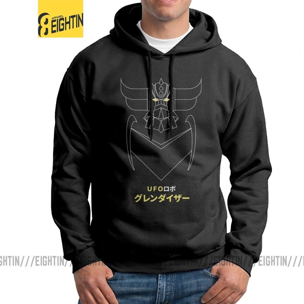 Vintage Hoodies Men's Grendizer Outline Version UFO Robot Grendizer 100% Cotton Hooded Sweatshirts Unique Pullovers
