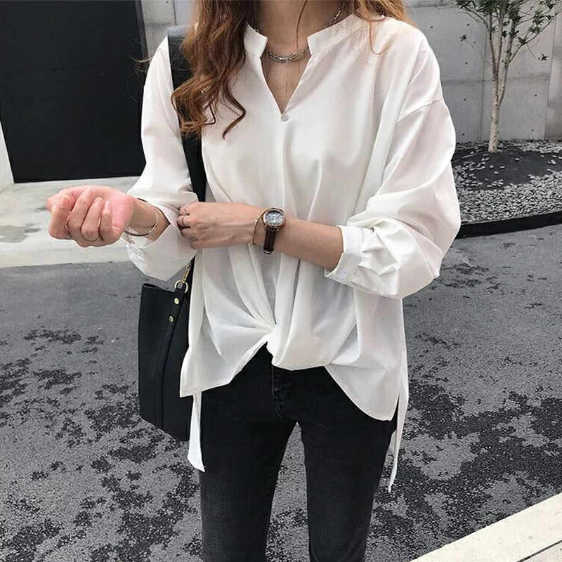 Vrouwen Chiffon V-hals Solid Shirt Lange Mouw Losse BF Vrouwelijke Shirts New Fashion Casual Top Dames Trui Tops Blouses